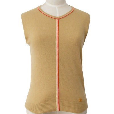 CHANEL 02P #38 Sleeveless Tops Brown