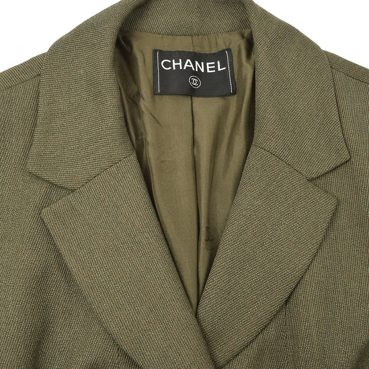 CHANEL Single Breasted Jacket Khaki
