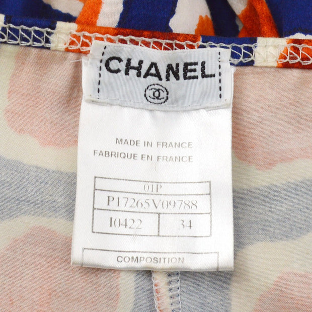 CHANEL 01P #34 Long Straight Pants Blue