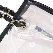 CHANEL Double Chain Hand Bag Clear Vinyl