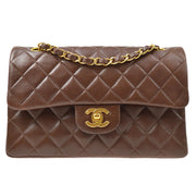 CHANEL Classic Double Flap Small Chain Shoulder Bag Brown