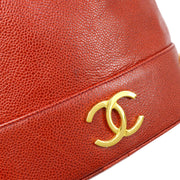 CHANEL Drawstring Chain Shoulder Bag Red Caviar Skin