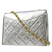 CHANEL Single Chain Shoulder Bag Silver