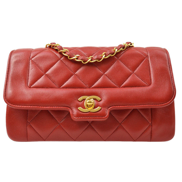 CHANEL Single Chain Shoulder Bag Red