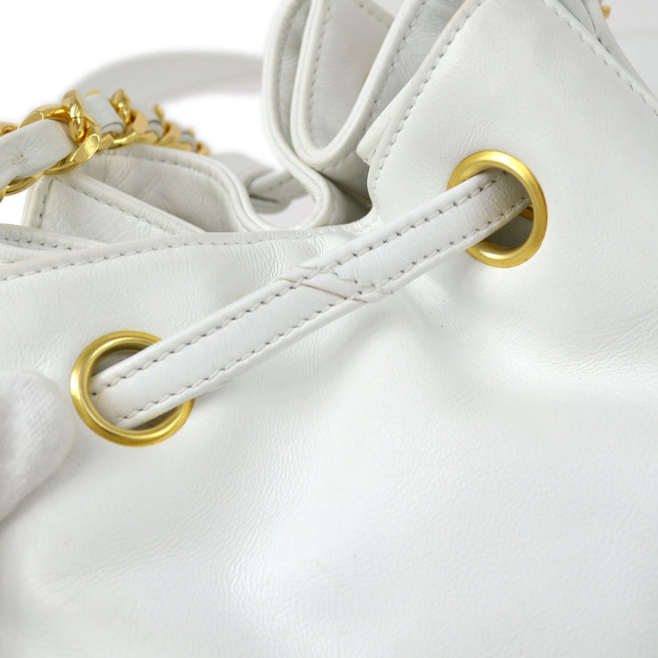 CHANEL Drawstring Chain Shoulder Bag White