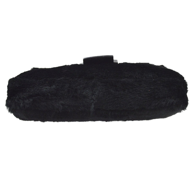 FENDI Zucca Baguette Hand Bag Black Rabbit Fur