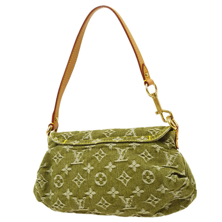 LOUIS VUITTON MINI PLEATY HAND BAG LICHEN GREEN MONOGRAM DENIM M95217