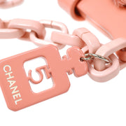 CHANEL No.5 Plastic Chain Hand Bag Pink Pony Hair