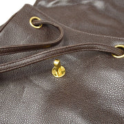 CHANEL Chain Backpack Bag Brown Caviar Skin
