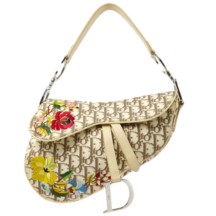 Christian Dior Trotter Flower Embroidery Saddle Hand Bag White