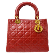 Christian Dior Lady Dior Cannage 2way Hand Bag Red