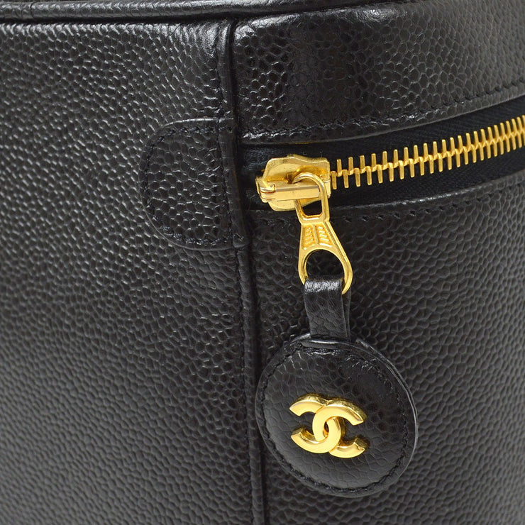 CHANEL Cosmetic Vanity Hand Bag Black Caviar Skin
