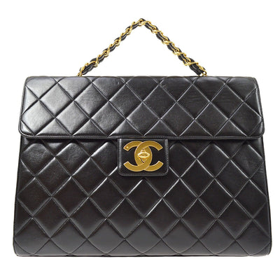 CHANEL Back Pocket Chain Business Hand Bag Black