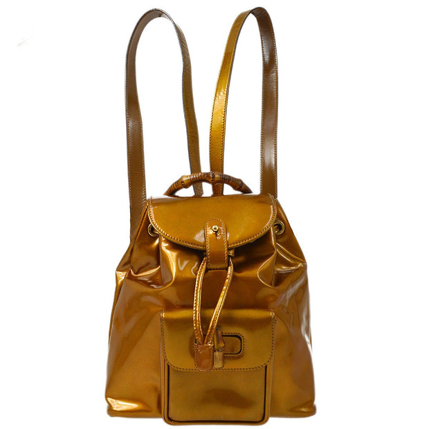 GUCCI Bamboo Backpack Hand Bag Bronze Patent Leather