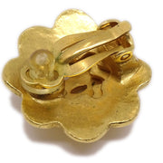 CHANEL Flower Earrings Gold 99P