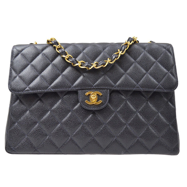 CHANEL Classic Flap Jumbo Double Chain Shoulder Bag Navy Caviar