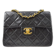 CHANEL Classic Flap Mini Square Single Chain Shoulder Bag Black