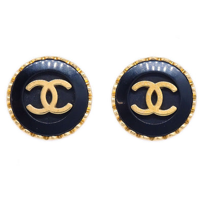 CHANEL Button Earrings Gold Black 96P