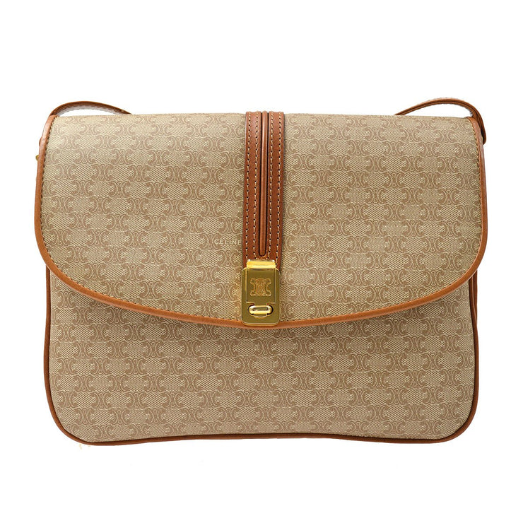 CELINE Macadam Shoulder Bag Beige