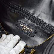 CHANEL 2way Duffle Travel Boston Hand Soulder Bag Black Caviar Skin