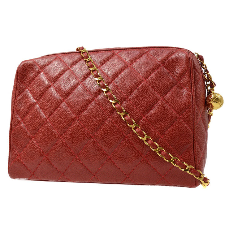 CHANEL Single Chain Shoulder Bag Red Caviar
