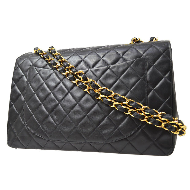 CHANEL Classic Flap Maxi Double Chain Shoulder Bag Black