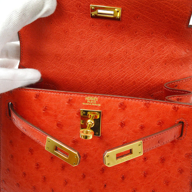 HERMES MINI KELLY 20 Hand Bag Red Ostrich Skin