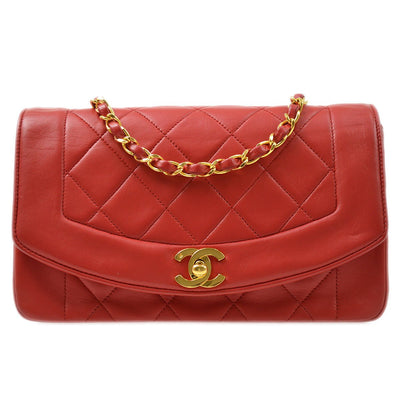 CHANEL Small Diana Single Chain Shoulder Bag Red