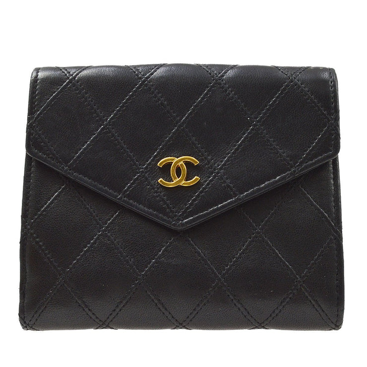CHANEL Cosmos Line Bifold Wallet Black