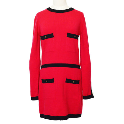 CHANEL 95A #42 Sweater One Piece Dress Skirt Red