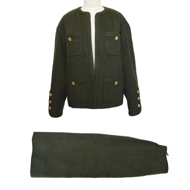 CHANEL #38 Set Up Jacket Skirt Green