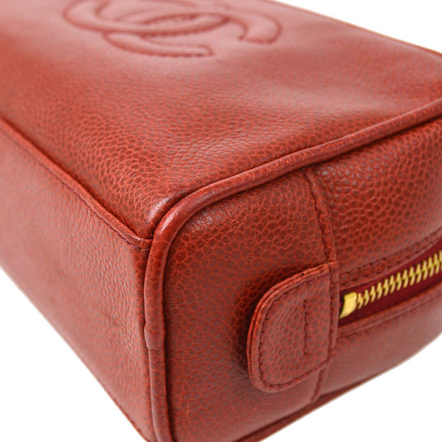 CHANEL Cosmetic Hand Bag Pouch Red Caviar Skin