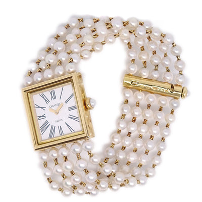 CHANEL Mademoiselle Wristwatch Watch Pearl 18K #M