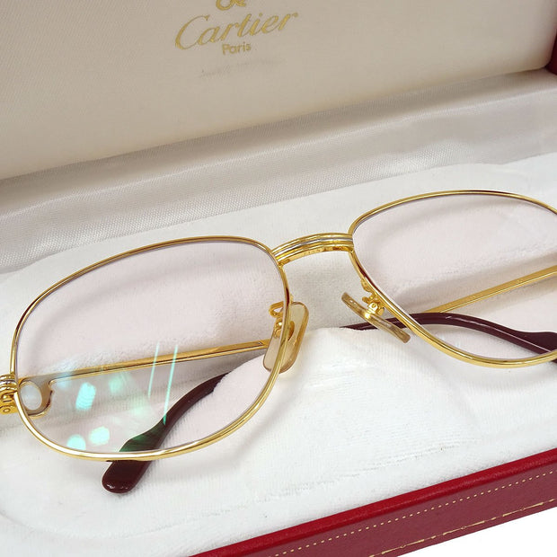 Cartier Reading Glasses Eye Wear Clear Gold 56□16 Small Good