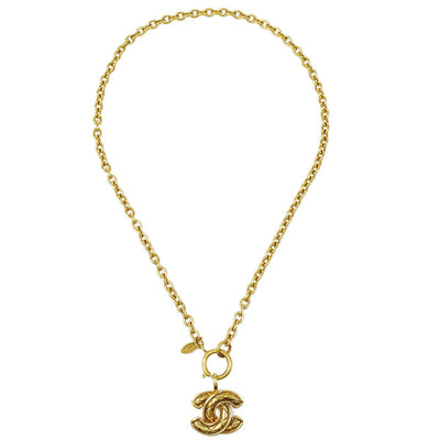 CHANEL Gold Chain Pendant Necklace 3857