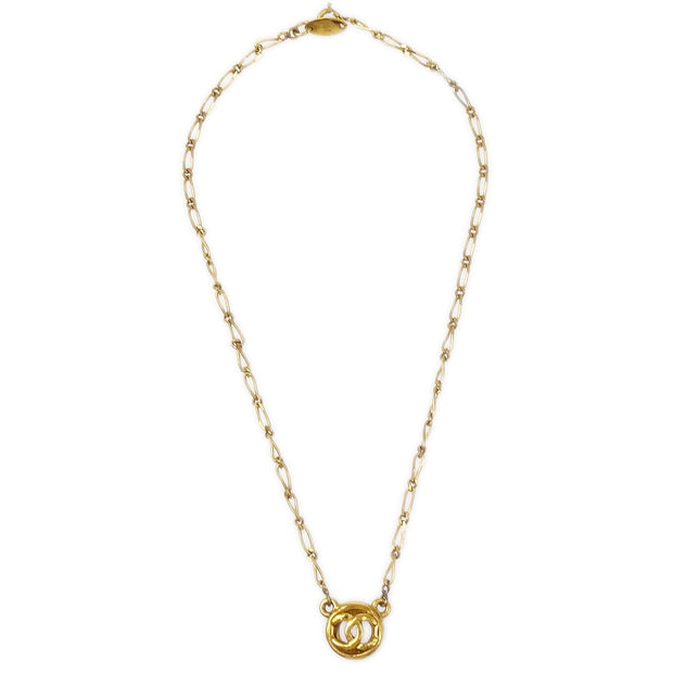 CHANEL Medallion Gold Chain Pendant Necklace 1982