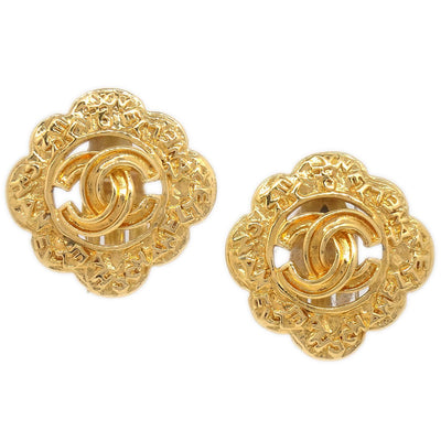 CHANEL Rhombus Earrings Gold 95A