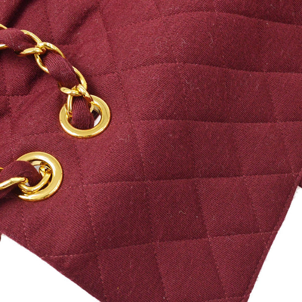 CHANEL Classic Flap Jumbo Chain Shoulder Bag Bordeaux Cotton