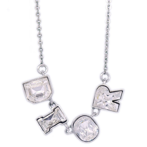 Christian Dior CD Rhinestone Silver Chain Pendant Necklace