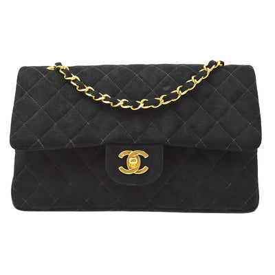 CHANEL Classic Double Flap Medium Chain Shoulder Bag Black Suede