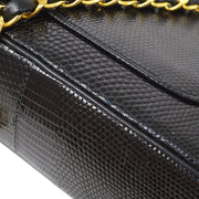 CHANEL Classic Double Flap Small Chain Shoulder Bag Black Lizard
