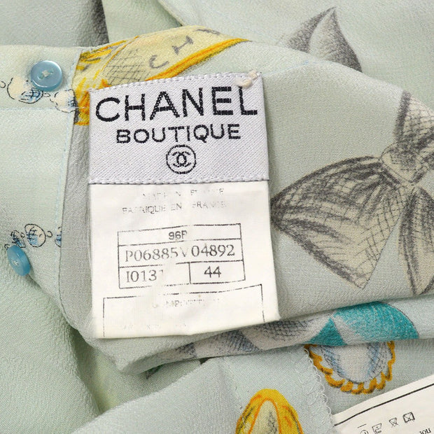 CHANEL 96P #44 Icon T-shirt Light Blue