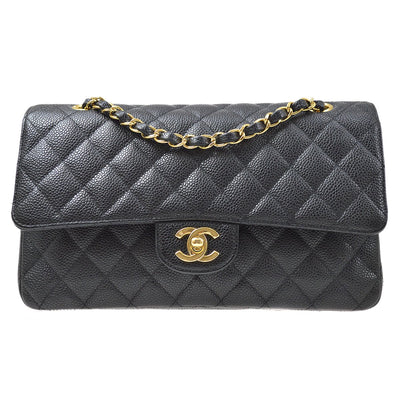 CHANEL Classic Double Flap Medium Chain Shoulder Bag Black Caviar Skin