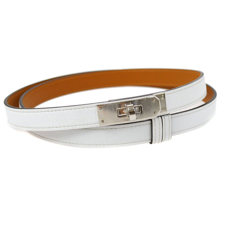 HERMES Kelly Buckle Belt White Epsom Small Good