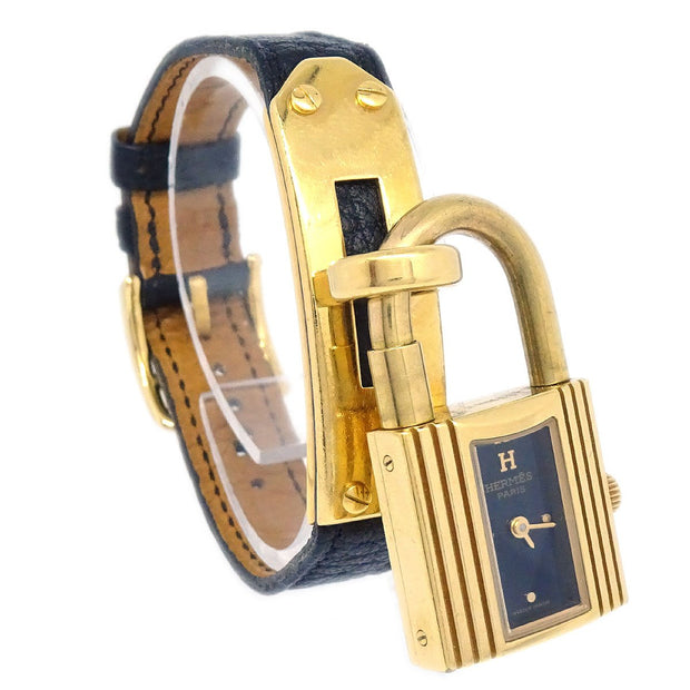 HERMES Kelly Watch Wristwatch Quartz Traurillon Clemence Gold Black