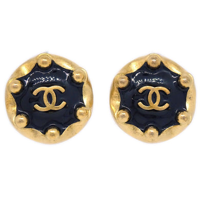 CHANEL Button Earrings Gold Black 94A