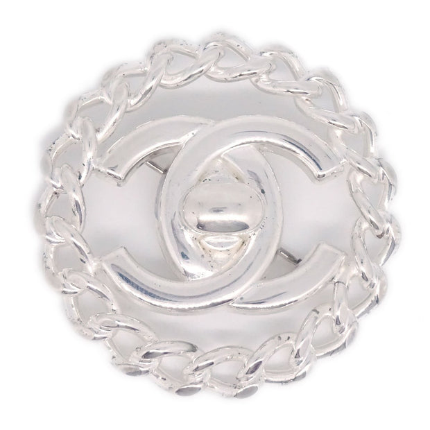 CHANEL Turnlock Brooch Pin Corsage 97A Silver