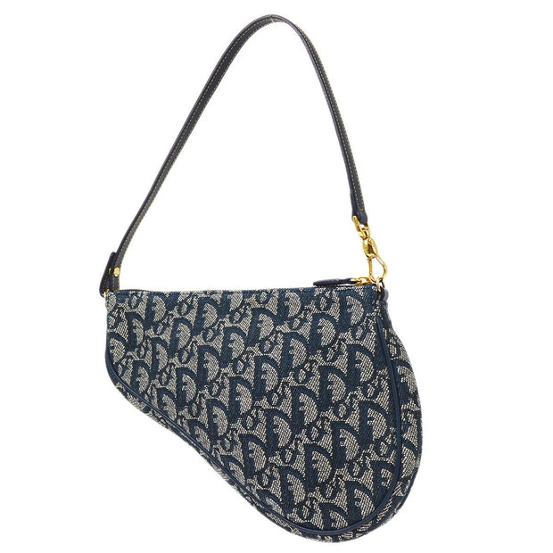 Christian Dior Trotter Pattern Saddle Hand Bag Navy