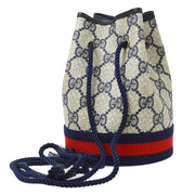 GUCCI GG Shelly Line Bucket Shoulder Bag Navy