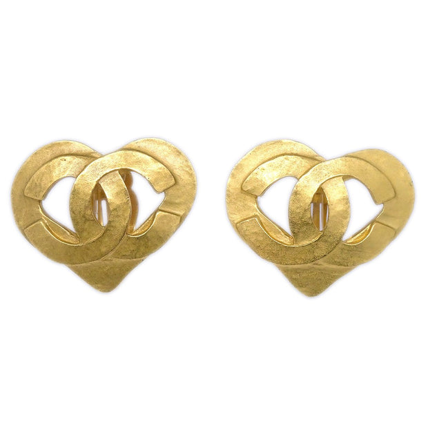 CHANEL Heart Earrings Gold 95P